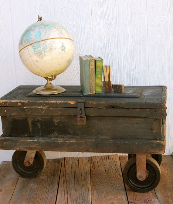 Vintage Carpenters Industrial Toolbox Chest Coffee Table