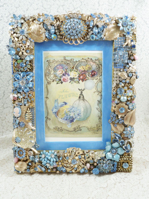 Cornflower Blue Jeweled Photo Frame, Spectacular Summer Decor ...