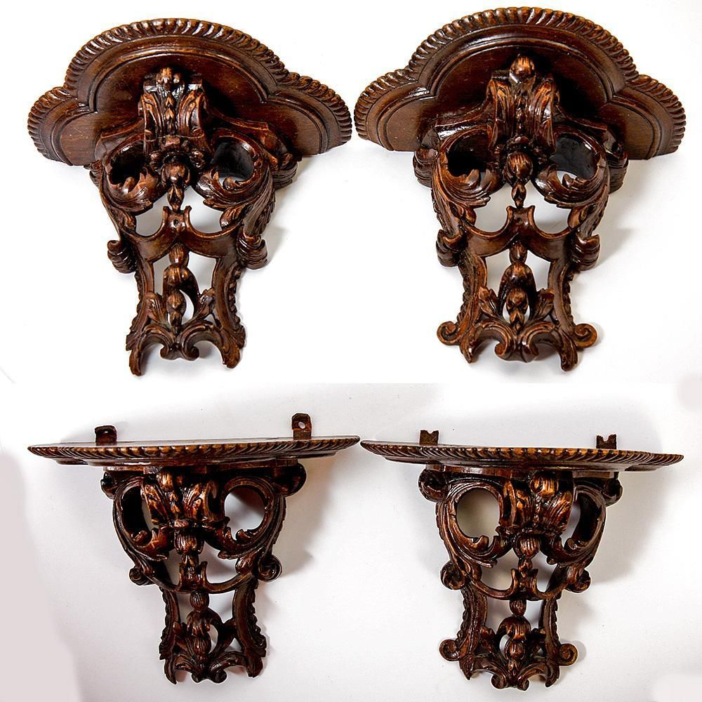 """Pair (2) Antique French Bracket Shelves, Hand Carved Wood, Ornate, 7.25"""" Wide"""