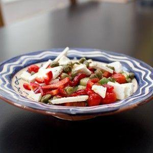 Tomaten-paprikasalade met feta