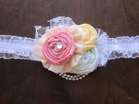 Pastels are perfect for spring! The soft colors combined with lace and pearls makes this headband the pretty touch to any dress or outfit. Comes in sizes newborn, 0-6, 6-12 12-18, 18-24 months. Can also be bought as a clip. Please leave size or clip preference in the notes box when checking out. ...