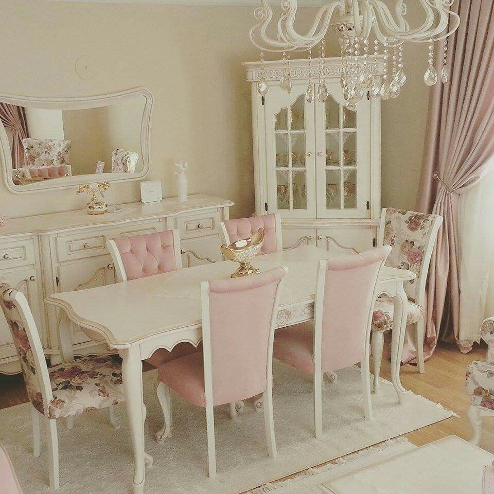 25 Shabby Chic Dining Room Designs Decorating Ideas: Pink & White Chic!