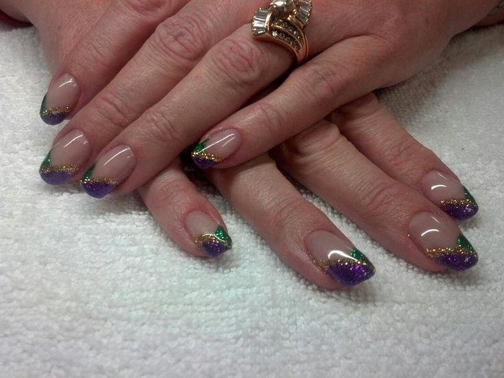 Mardi Gras French Manicure Nail Designs | mardi gras nails designs ...