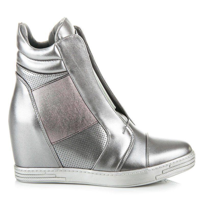 Mtt Sport Srebrne Trampki Na Koturnie Szare Wedge Sneaker Shoes Sneakers