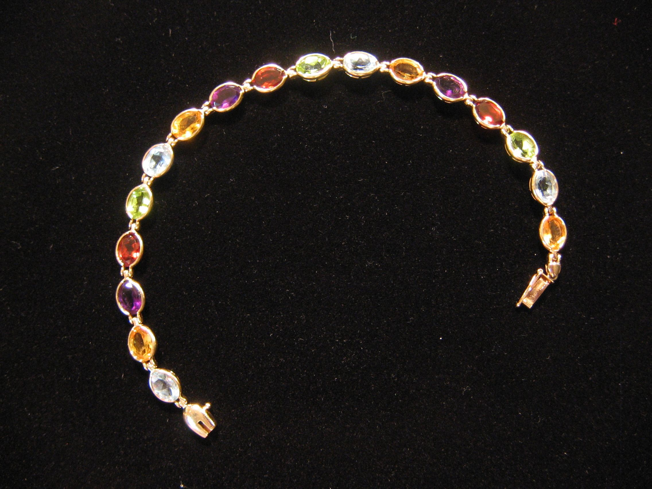 14kt. yellow Gold 7 1/2 inch gemstone bracelet JD3 Jewelry email: jd3metals@gmail.com *********phone:215-279-0606