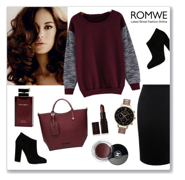 """""""ROMWE"""" by veronica7777 ❤ liked on Polyvore featuring Alexander McQueen, Giuseppe Zanotti, Olivia Burton, Dolce & Gabbana Fragrance, Laura Mercier and Chanel"""