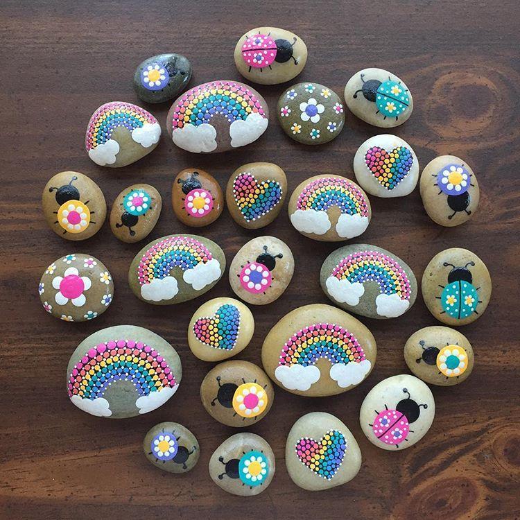 """Stephanie Osborn on Instagram: """"Spring! #paintedrocks #paintedpebbles #rockpainting #skagitcountyrocks #dottedrocks #rainbowrocks"""""""