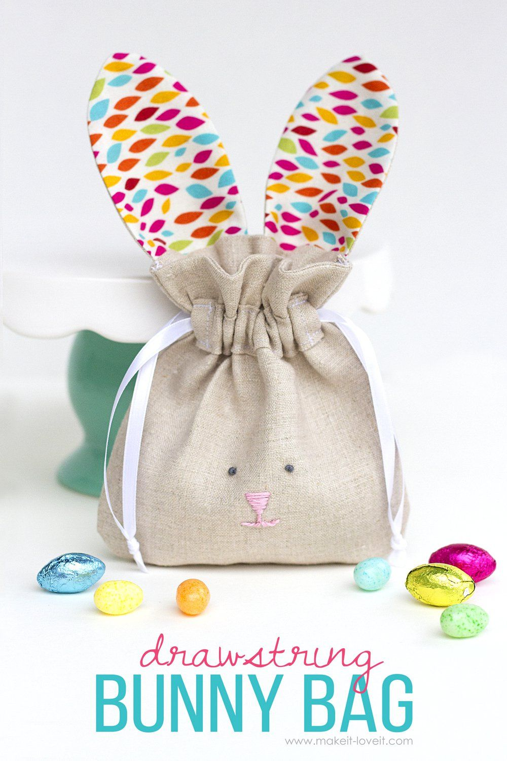 Must have craft tips easter sewing projects bunny easter drawstring bunny bags easy to sew tutorial negle Image collections