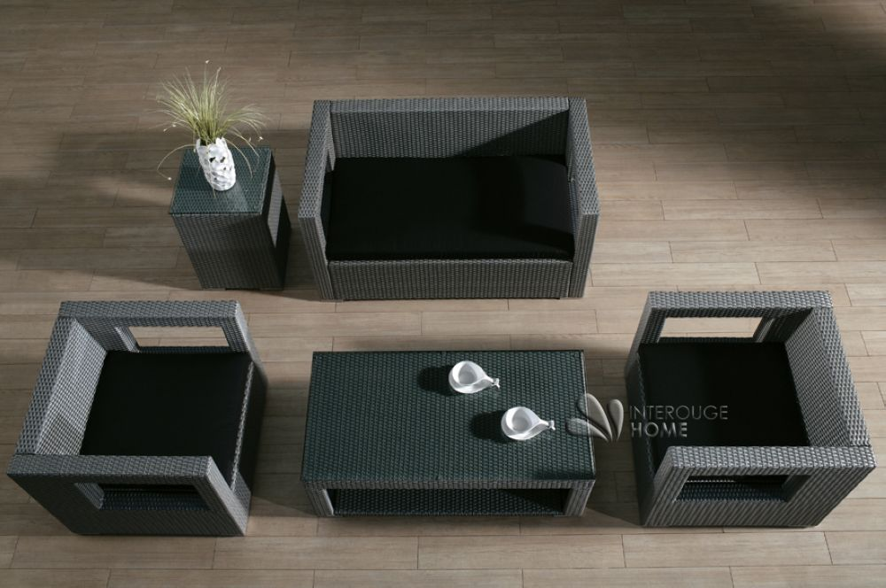 Salon de jardin RILASA: canapé 2 places+2 fauteuils+2 tables ...
