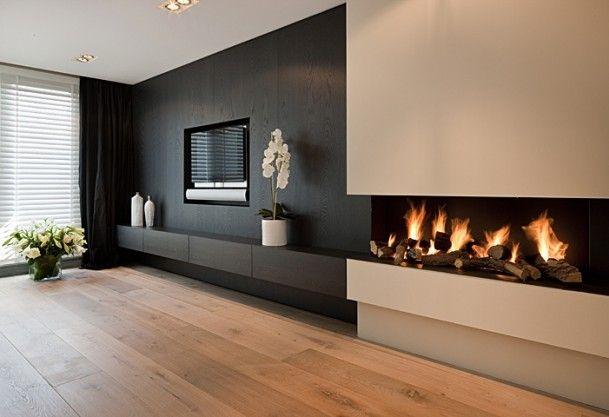 Tv In Muur : Interieurideeën tv meubel en open haard wohnzimmer