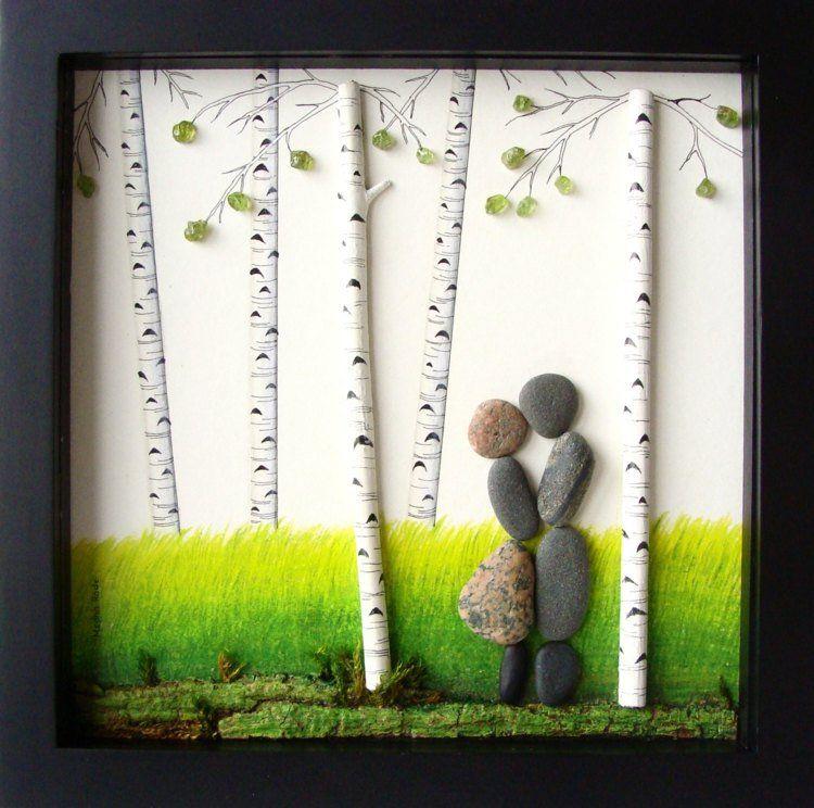tableau galets d coratifs 20 id es de d coration murale originale forestier faire soi meme. Black Bedroom Furniture Sets. Home Design Ideas