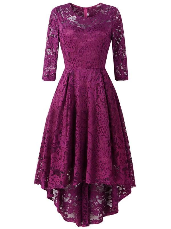 Laceshe Women's Vintage Floral Printed Hi-Low Lace Dress