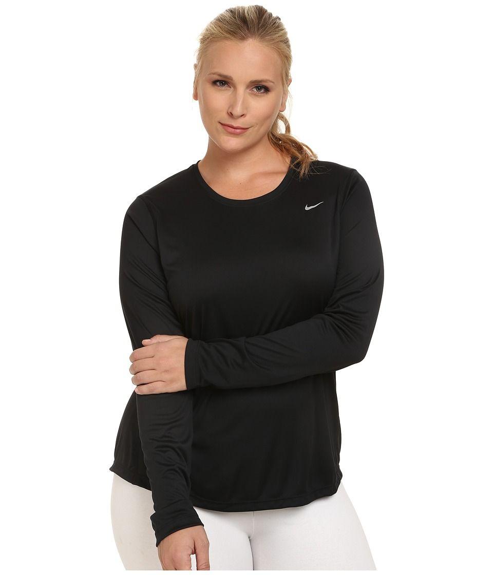 Women Clothing Long-Sleeve Tops Black Nike Miler Long Sleeve Running Tee