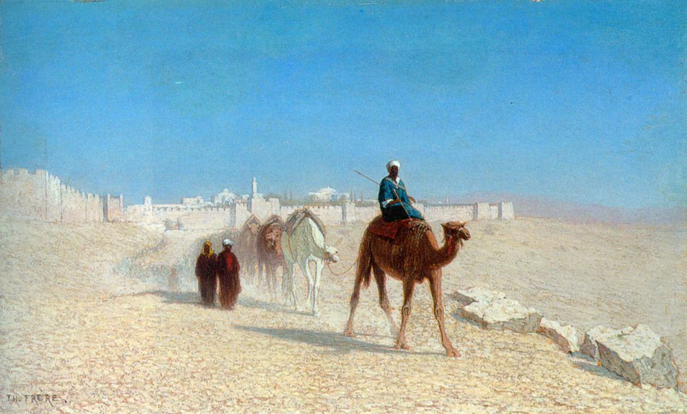 Charles Theodore Frere (1814-1888)  Jerusalem, Cote de la Porte de Jaffe  Oil on panel