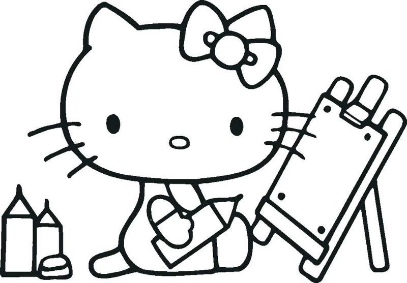 Back To School Coloring Pages For Kids Hello Kitty Colouring