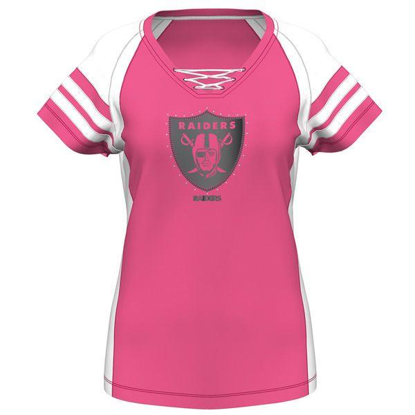17201697f844f Women s Oakland Raiders Majestic Pink Draft Me VII T-Shirt ...
