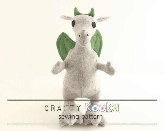 Dragon sewing pattern, stuffed toy pattern, dragon pdf sewing ...