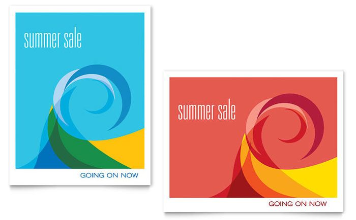Summer Waves Sale Poster Design Template by StockLayouts layout - poster template for word