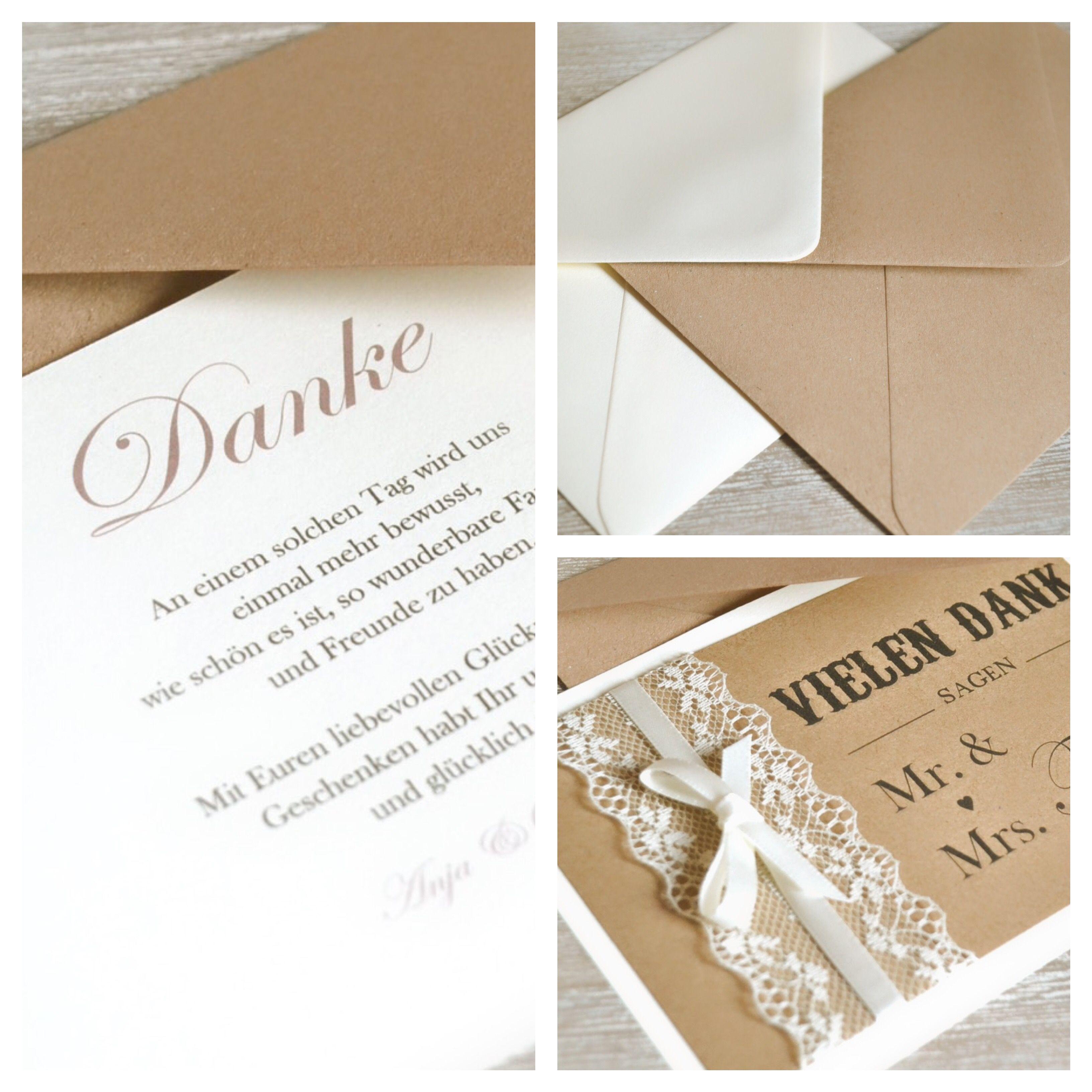 Dankeskarten vintage mit spitze zur hochzeit dankeskarten danksagung danke vintagehochzeit