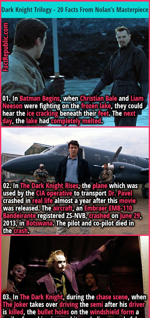 01. In Batman Begins, when Christian Bale and Liam Neeson were fighting on the frozen lake, they could hear the ice cracking beneath their feet. The next day, the lake had completely melted. #batman #movies #films #hollywood #didyouknow #interesting #thebatman #fascinating #thejoker #thedarknight #batmanbegins #thedarkknightrises