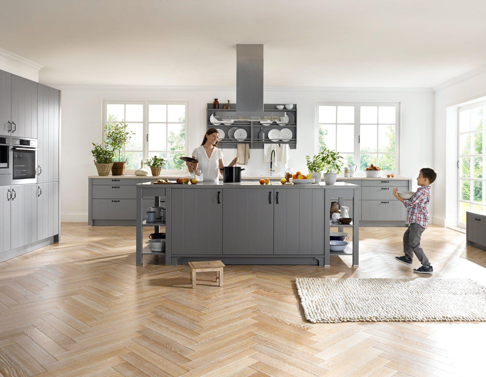global 55 210 landhauskuche in lack grau landhauskuchen pinterest kuchen mobel um