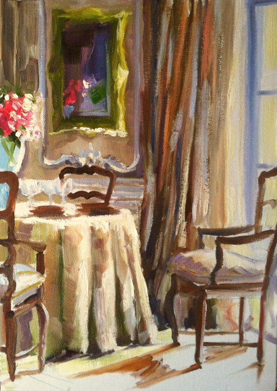 FRANSE EETKAMER Art Print of Original Oil Painting, French dining ...