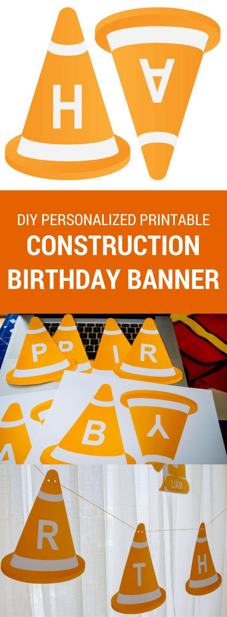 Modern construction printable birthday banner for a construction birthday party