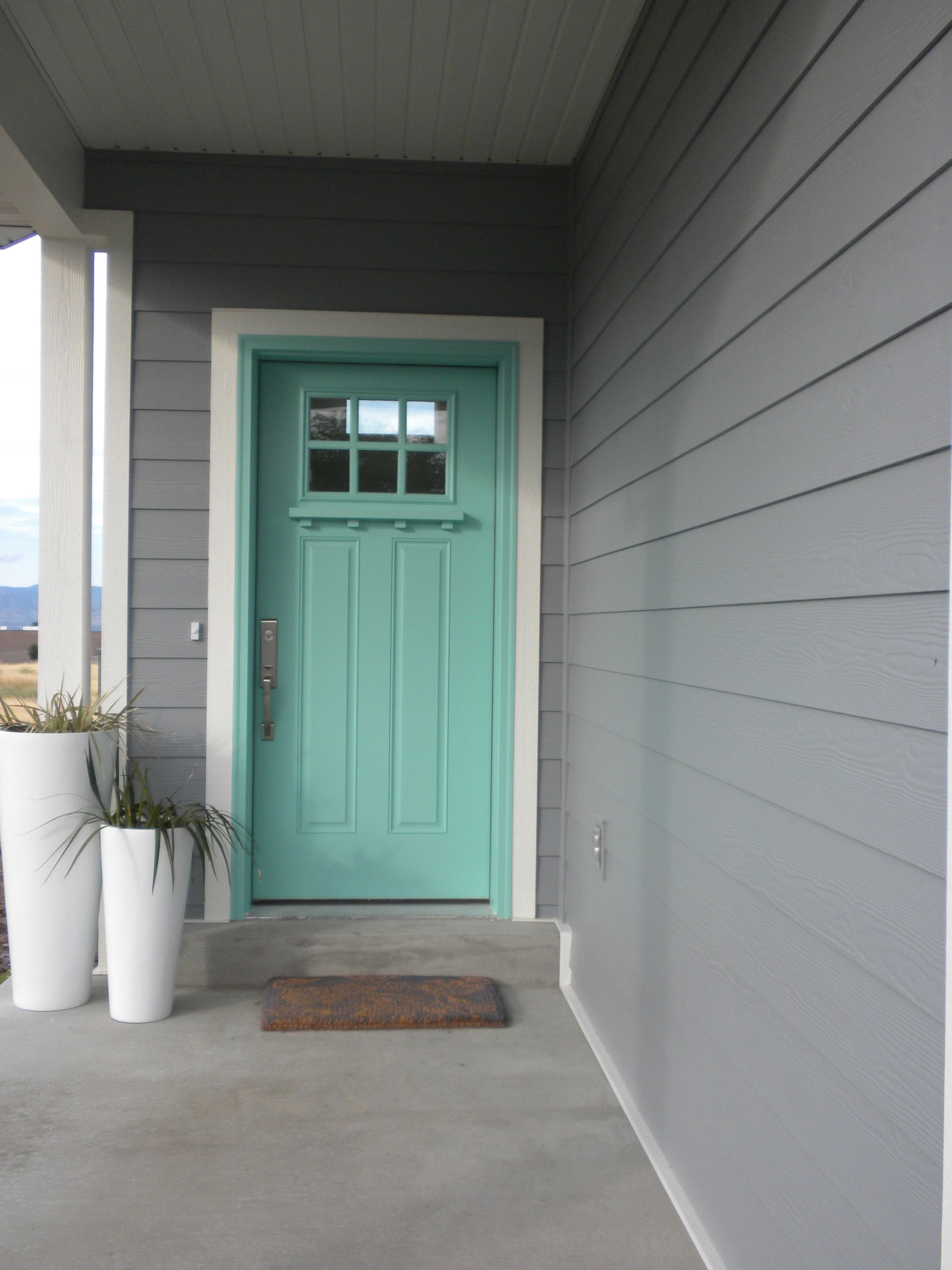 When I Have My Own House I Shall Have An Aqua Front Door And Gray Paint Exterior House Paint Exterior Aqua Front Doors Exterior Gray Paint