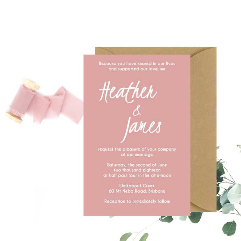 Dusty Pink Wedding Invitation Sample The Paper Birdcage