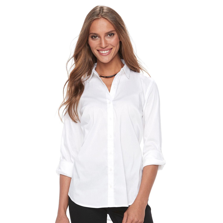 2e4d818f2 Kohls Womens White Button Down Shirt - DREAMWORKS