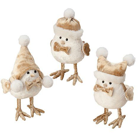 The Velvet Tones Birds Set of 3 Holiday Accents Christmas Pinterest
