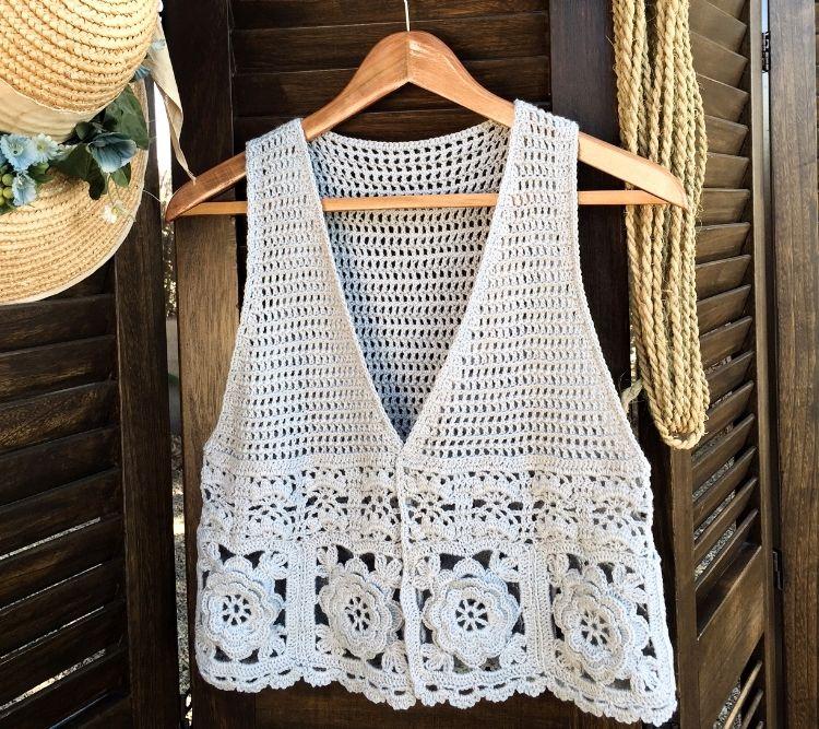 Contemporáneo Patrón Chaleco Hippie Crochet Ornamento - Manta de ...