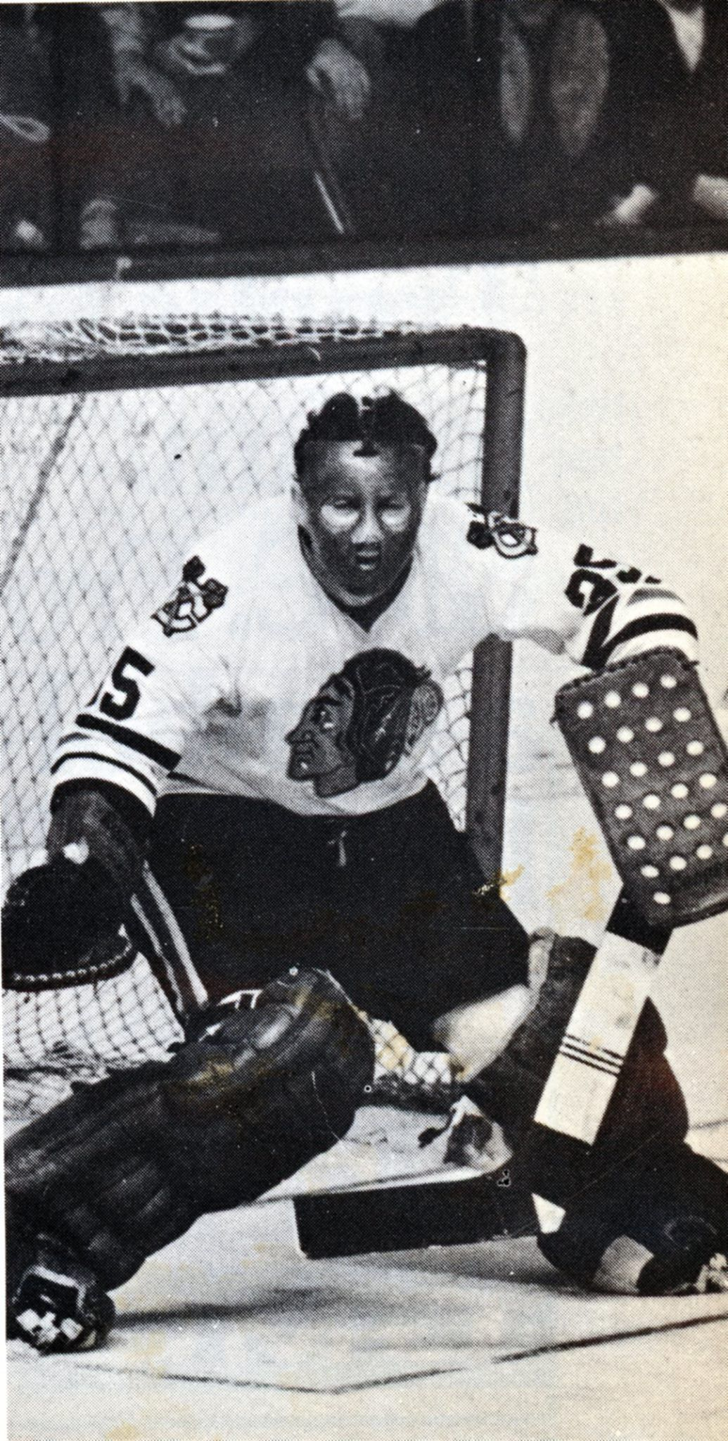 eca0e4efb84 Tony Esposito sporting his early mask in the late 1960 s.