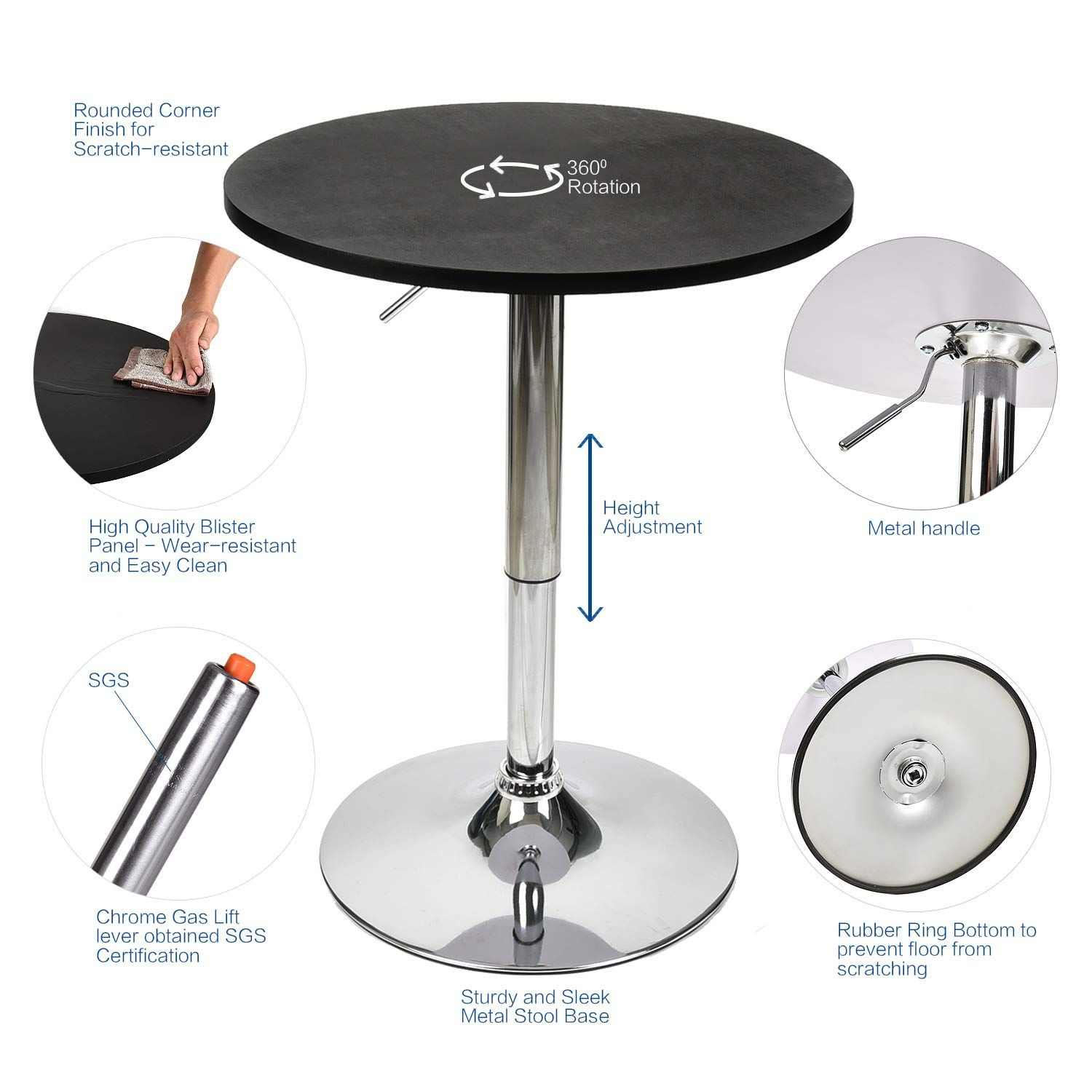 3 Pieces Bar Table Set 24 Inch Round Height Adjustable Steel Dining Bistro Kitchen Table With 2 Pieces Vel Counter Height Dining Sets Bar Table Sets Pub Stools