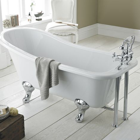 Hudson Reed Kensington Freestanding Slipper Bath 1500mm X 730mm Corbel Leg Set Rl1490t Slipper Bath Free Standing Bath Roll Top Bath