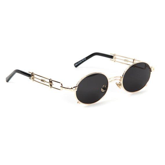 Gold Frame Round Retro Vintage Black Tint Shades Mens Sunglasses