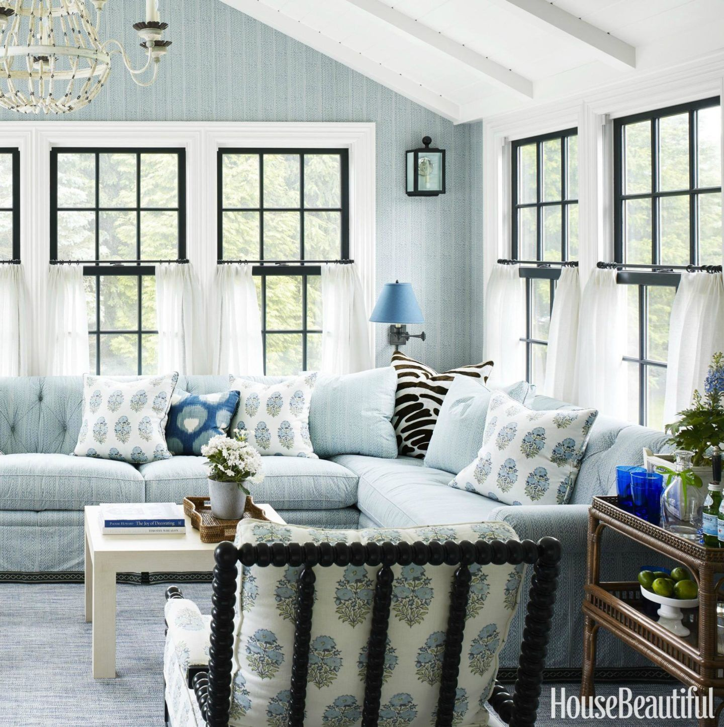 CafeDesignSunroom. Blue wall, windows, white, beams, love everything ...