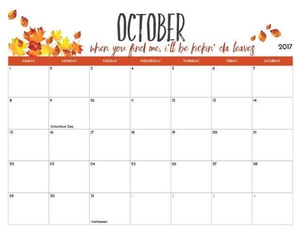 October 2017 Calendar For Kids F A L L Pinterest October Calendar