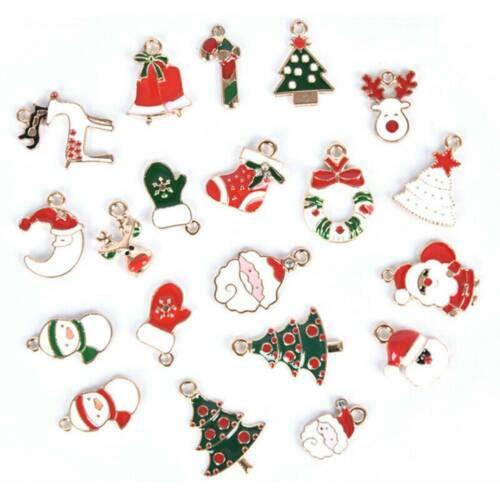 20pcs Enamel Alloy Mixed Christmas Charms Pendant Jewelry Decor DIY Craft Making