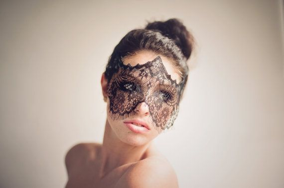 Strapless Halloween Mask Elegant Black Lace Veil by TheMidway ...
