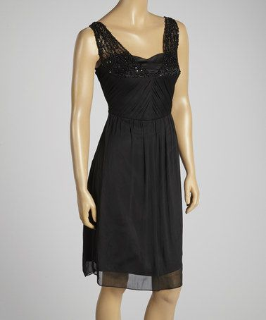 Another great find on #zulily! Black Sequin Lace Blouson Dress by Young Essence #zulilyfinds