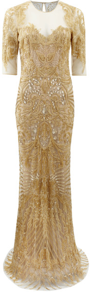 Naeem Khan Illusion Neckline Embroidered Gown in Gold - Lyst      jaglady