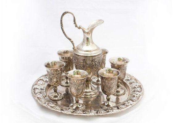 Vintage Barware Liquor Serving Set Silver by RaffaelloVintage, $129.00