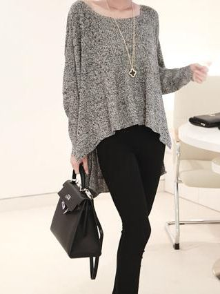 Grey-Back-Wing-Pattern-Knit-Oversized-High-Low-Loose-Casual ...