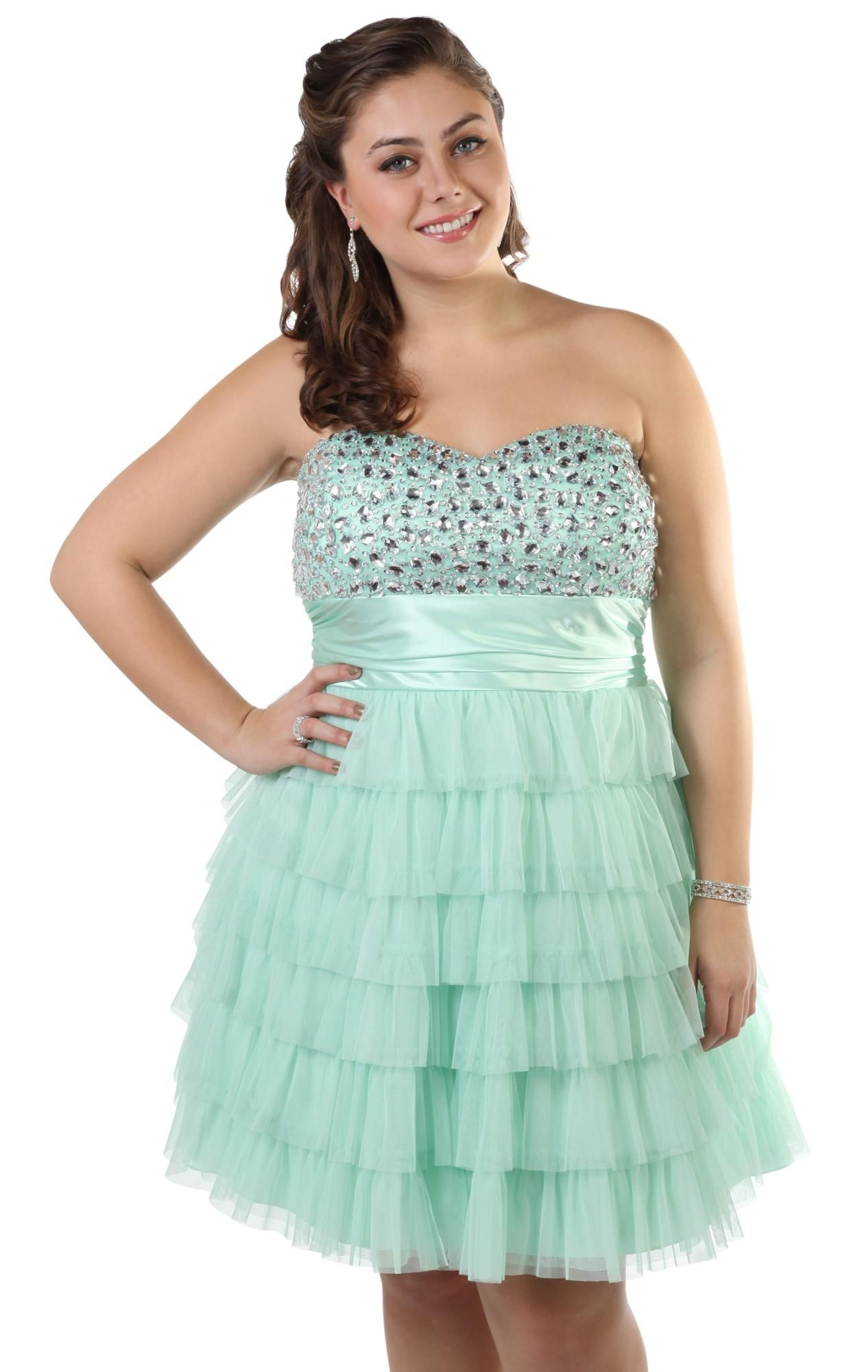 Deb Shops #mint plus size short #prom #dress with chunky stone ...