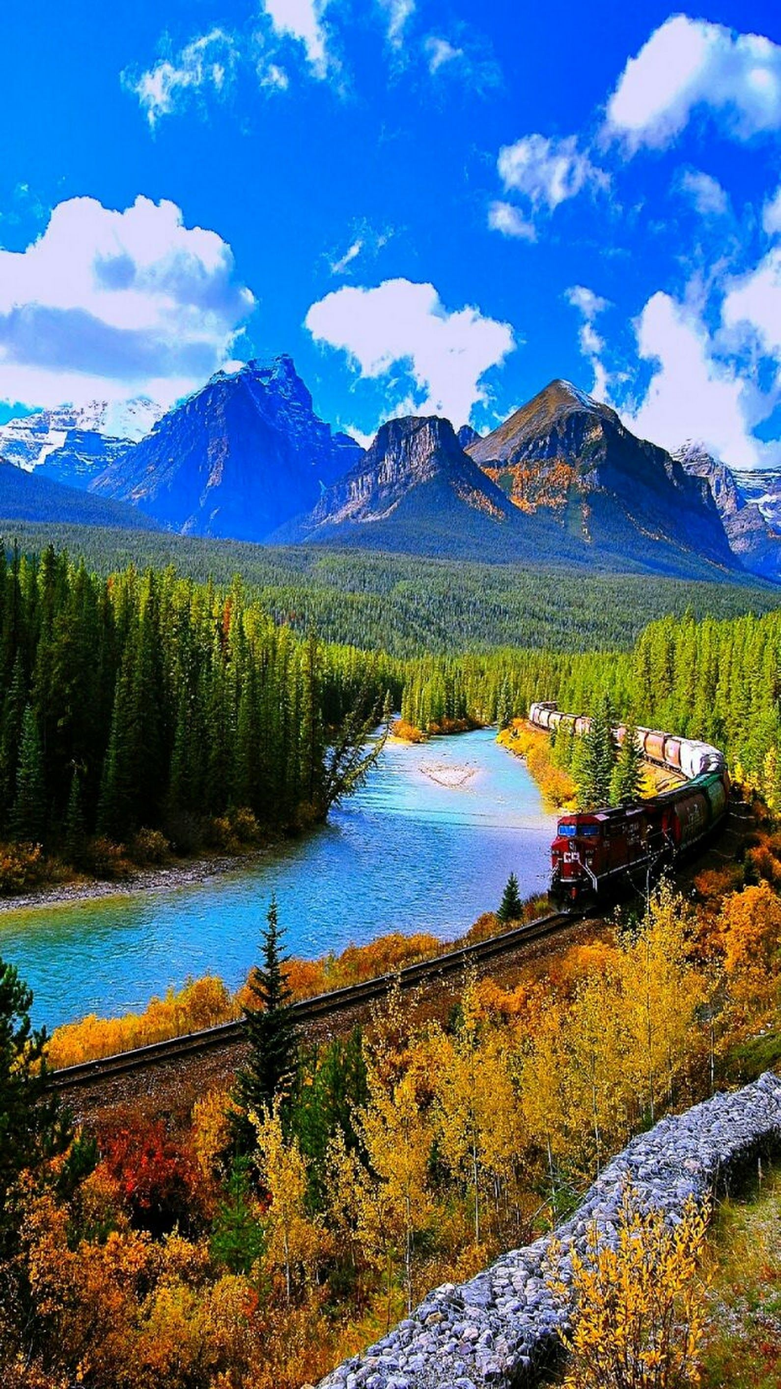 Canada Enjoying Natural Painting With Train Beautiful