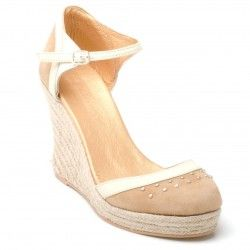 [Kate - Tan Suede Espadrille Wedge]    Delightful closed-in toe design with espadrille heel, in camel suede with cream leather trim and high heel wedge.    Wedge height: 4 Inches    Platform height: 1 Inch  Price:  £85.00