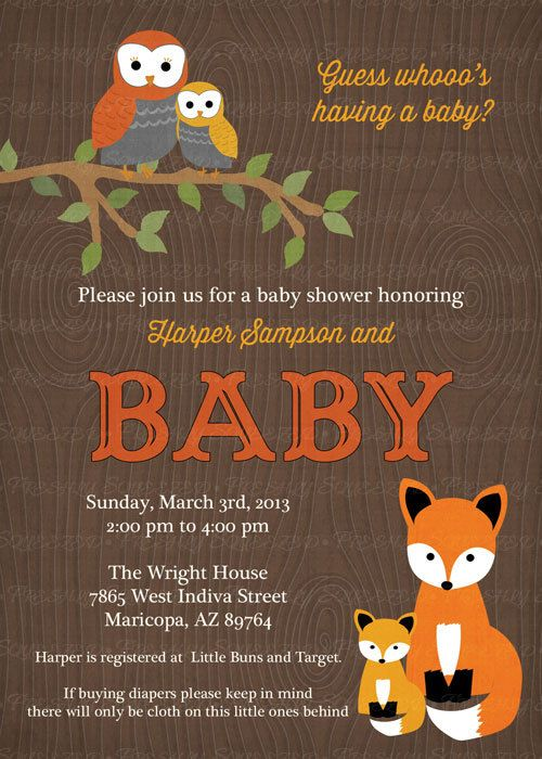 woodland baby shower invitations with owls and fox wood grain digital printable file