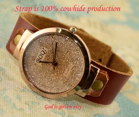 leisure watchPure leather strap retro nostalgic style by Godisgirl, $13.99