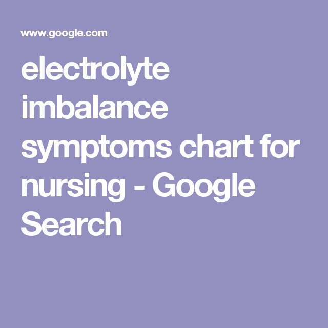 electrolyte imbalance symptoms chart for nursing google search